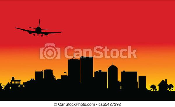 plane over the city three illustrat - csp5427392