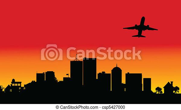 plane over the city two illustratio - csp5427000
