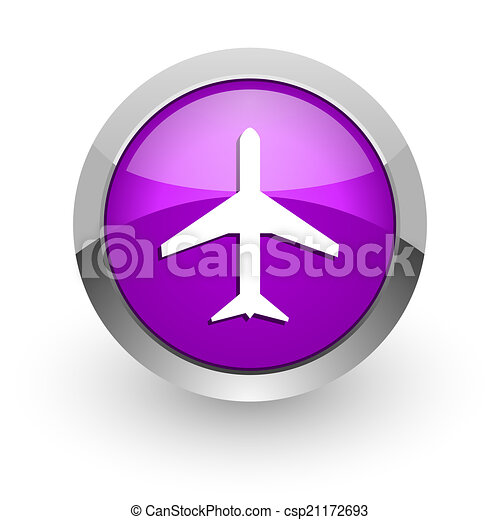 plane pink glossy web icon - csp21172693