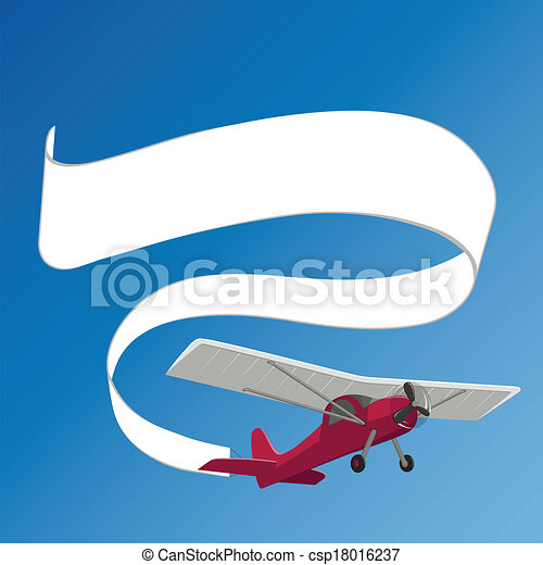 Plane pulling white banner on the background of clear sky.