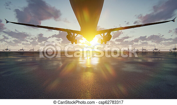 Plane takes off at sunrise or sunset background in slow motion. 3D Rendering - csp62783317