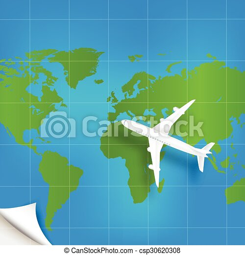 Plane the world map with concept of - csp30620308