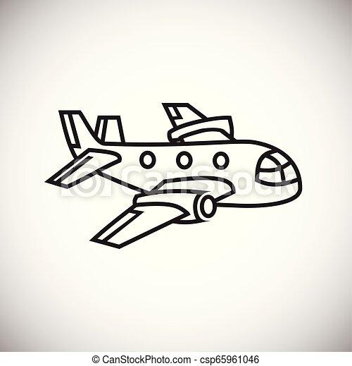 Plane thin line on white background - csp65961046