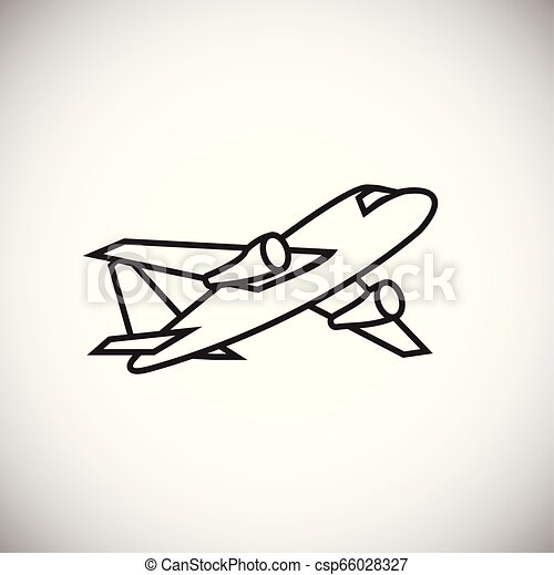 Plane thin line on white background - csp66028327
