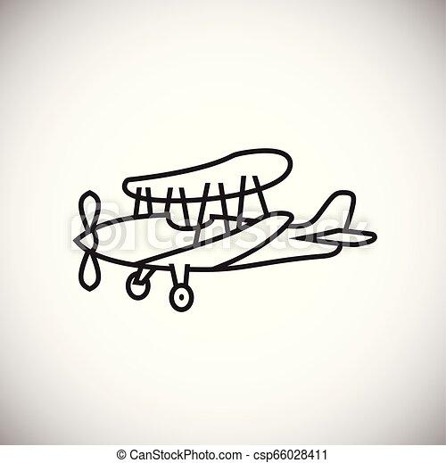 Plane thin line on white background - csp66028411