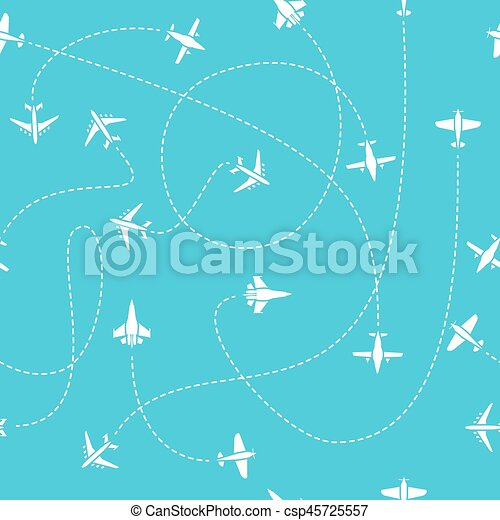 Plane Travel Seamless Pattern World Travelling Blue Endless Vector Background With Dashed Path