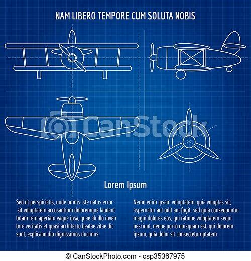Plane vector blueprint plane blueprint image drawing vectors plane vector blueprint malvernweather Choice Image
