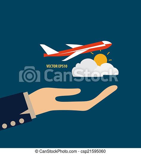 plane., vektor, illustration., halten hände - csp21595060