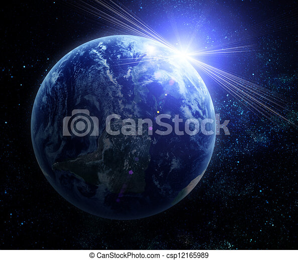 planeet, realistisch, aarde, ruimte - csp12165989