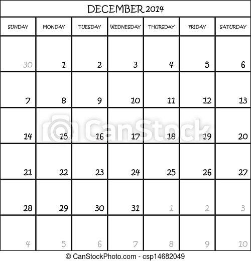 planer, dezember, hintergrund, 2014, kalender, durchsichtig - csp14682049