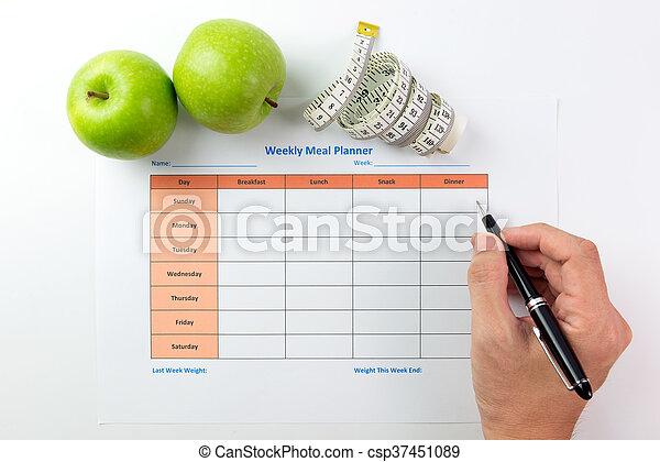 Planer, mahlzeit, wöchentlich. Blatt, äpfel, stift, planung, grün ...