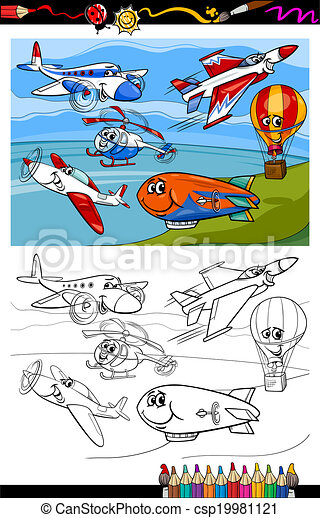 Planes And Aircraft Cartoon Coloring Book Coloring Book Or Page Cartoon Illustration Of Color And Black And White Planes And