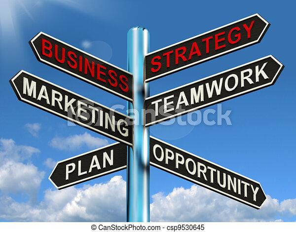 Señales de estrategia de trabajo en equipo de marketing y planes - csp9530645