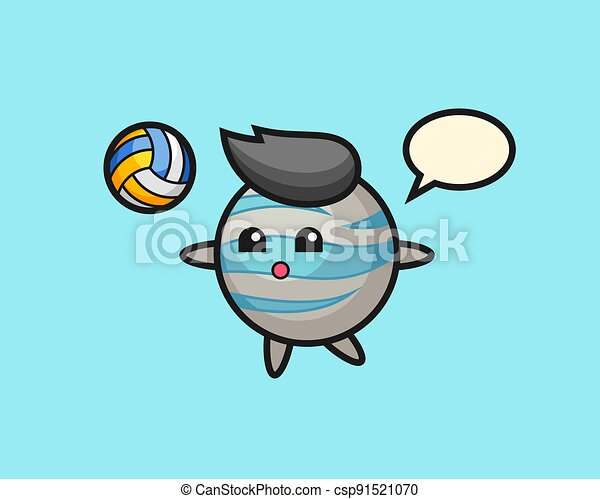 Planet cartoon is playing volleyball - csp91521070