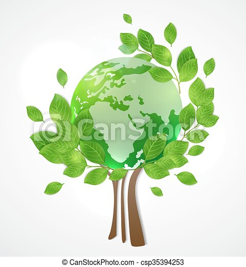 Planet Earth and green tree - csp35394253