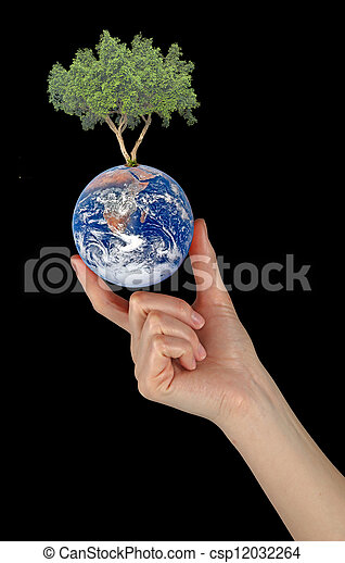Planet earth as symbol of nature conservation. Elements of this image furnished by NASA - csp12032264