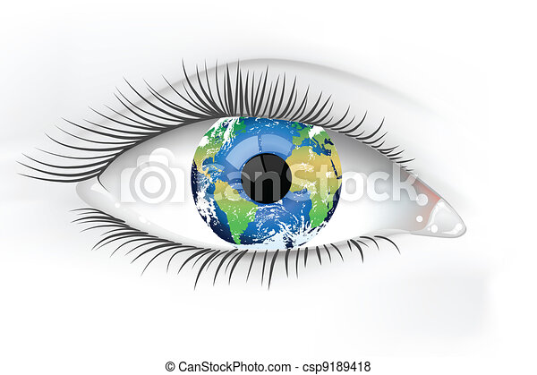 Planet Earth Eye Desaturated - csp9189418