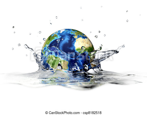 Planet Earth, falling into clear water, forming a crown splash. With depth of field. 3 D digital rendering on white background. - csp8182518