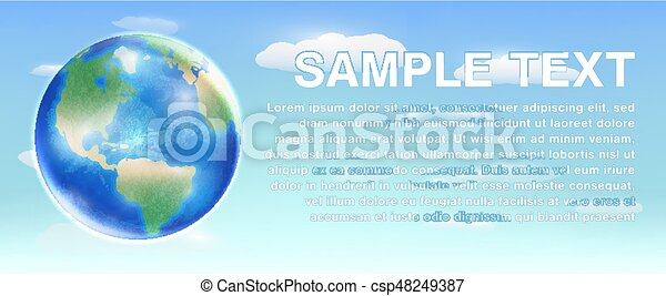 planet earth globe on a sky background - csp48249387