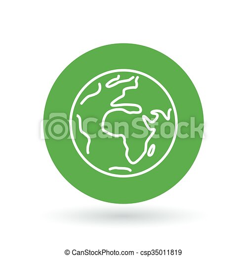 Planet earth icon. Green earth sign. Green planet symbol. Vector illustration. - csp35011819