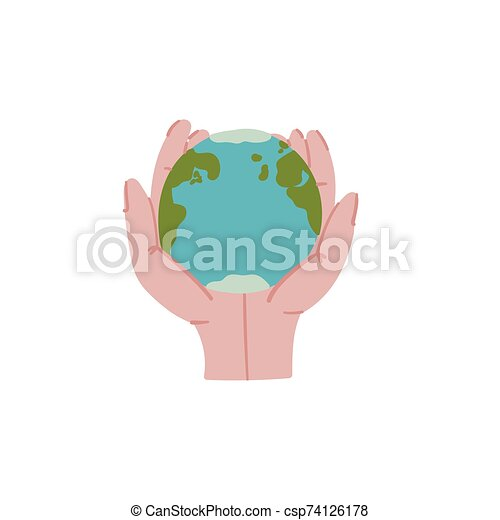 Planet Earth in hands doodle style hand drawn concept. - csp74126178