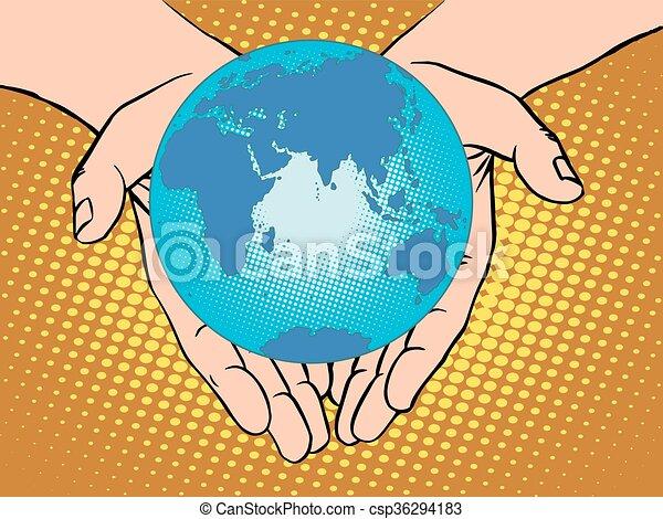 Planet Earth in hands, Eurasia Africa Australia Antarctica Europ - csp36294183