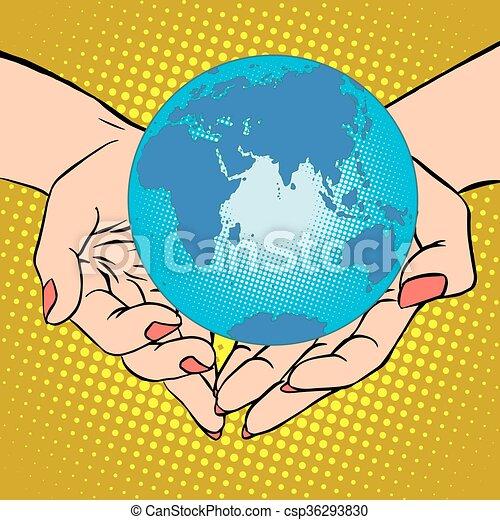 Planet Earth in hands, Eurasia, Africa, Australia and Antarctica - csp36293830