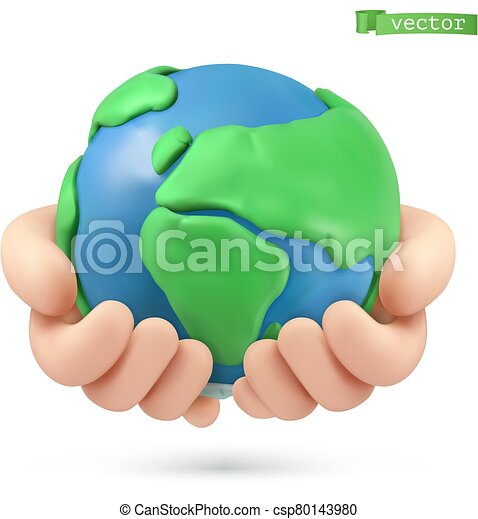 Planet earth in hands icon. 3d vector object. Handmade plasticine art illustration - csp80143980