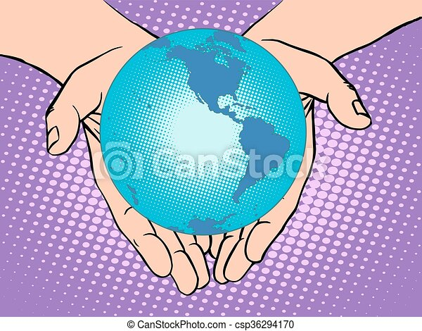 Planet Earth in hands, South and North America - csp36294170