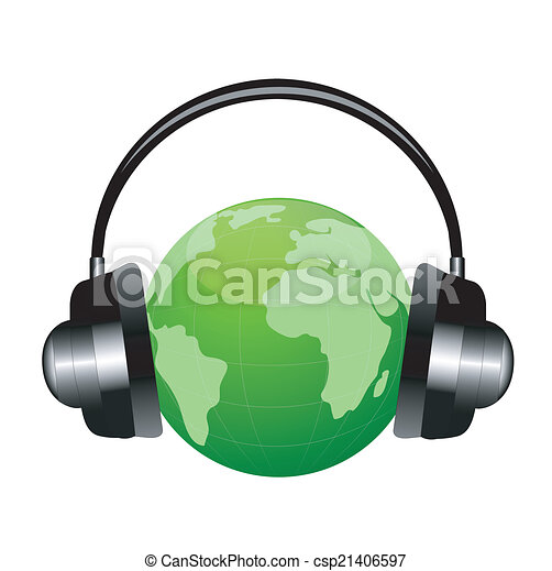 planet earth in headsets - csp21406597