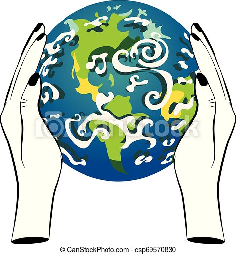 Planet Earth in human hands - csp69570830