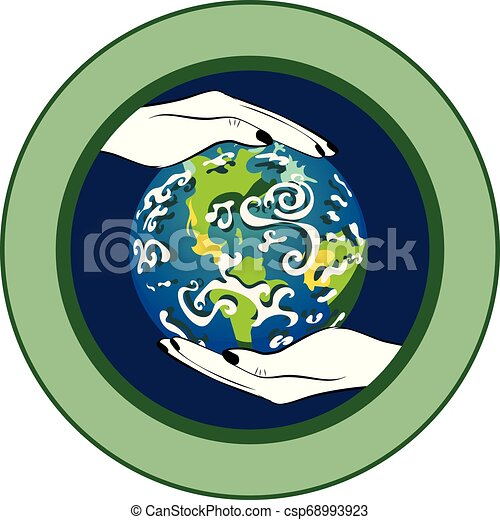 Planet Earth in human hands - csp68993923