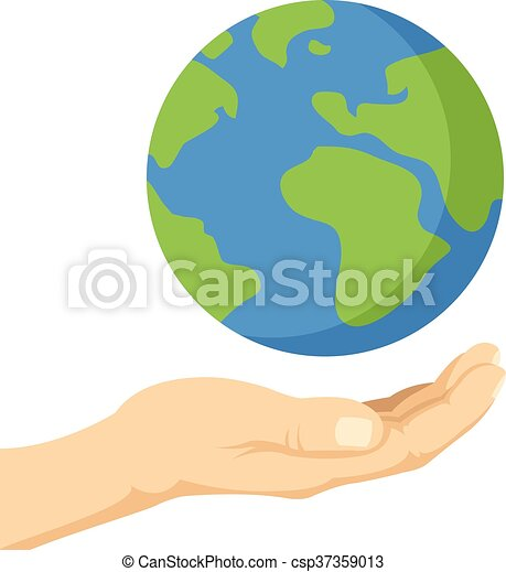 Planet Earth in human hands - csp37359013