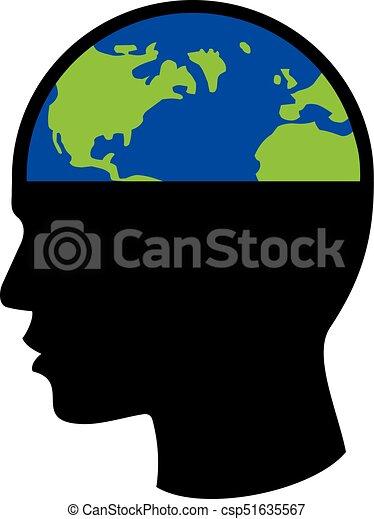 planet earth in human head - csp51635567
