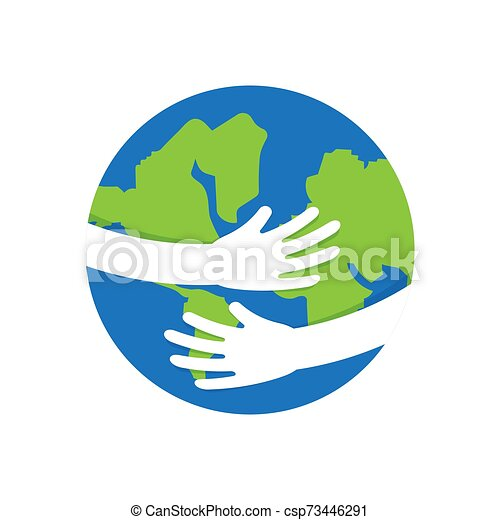Planet Earth in the hands of human. - csp73446291
