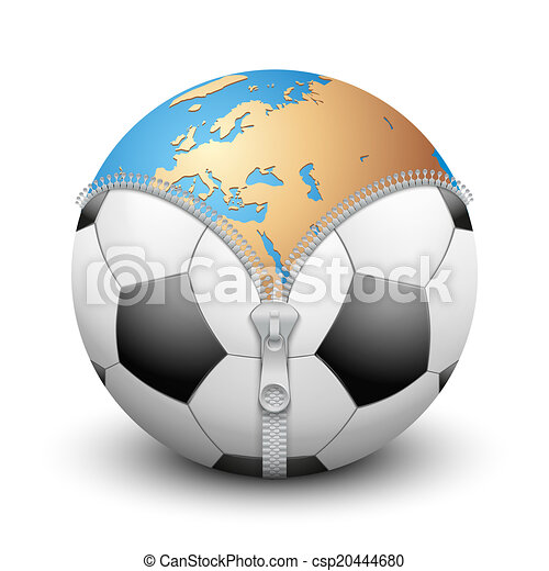 Planet Earth inside soccer ball - csp20444680