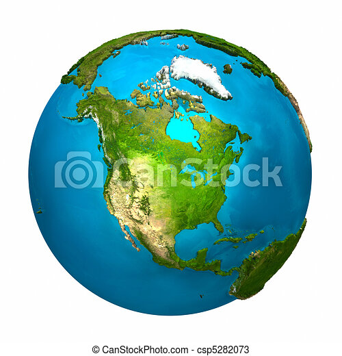 planet earth north america colorful globe with detailed rh canstockphoto com Animated Earth Clip Art Earth Clip Art