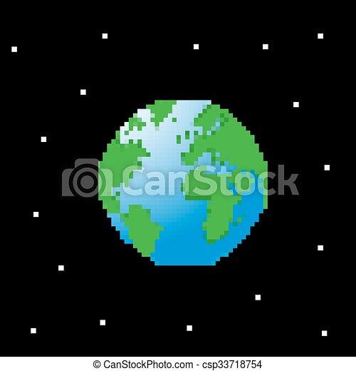 Planet Earth Pixel Art Vector Illustration Canstock