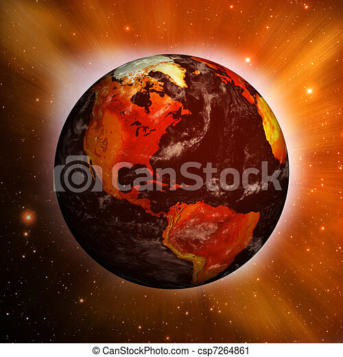 Planet Earth showing North America with Global Warming - csp7264861