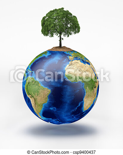Planet earth with a tree on top. - csp9400437