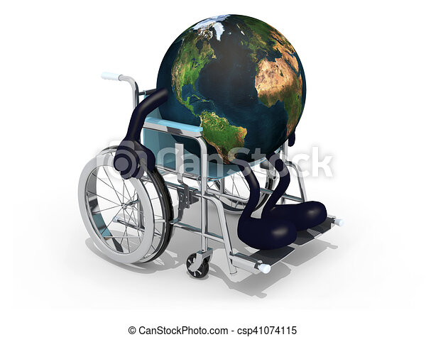 planet earth with arms and legs on a wheelchair - csp41074115