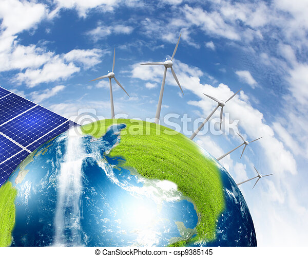 Planet earth with solar energy batteries - csp9385145