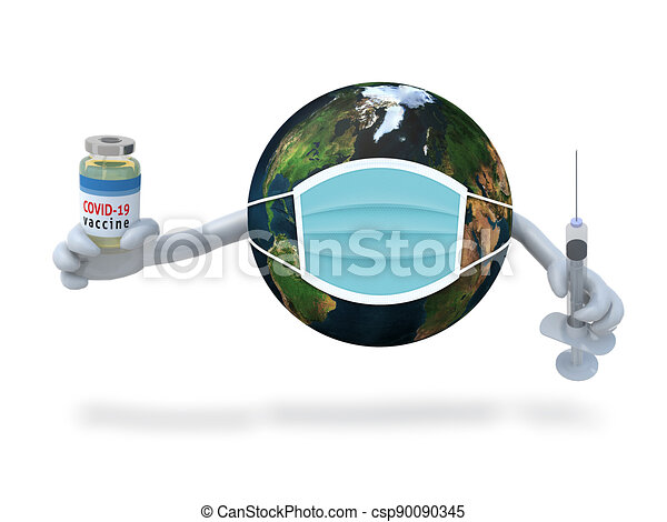planet earth witn arms, vaccine and syringe on hands - csp90090345