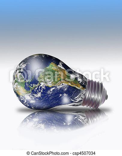 planet erde, lightbulb - csp4507034