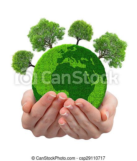 planet, grönt träd, räcker - csp29110717
