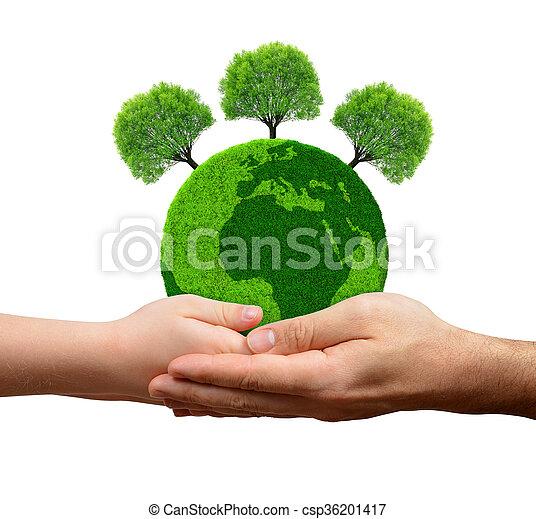 planet, grönt träd, räcker - csp36201417