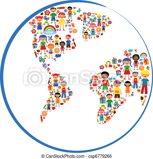planet of kids, colorful vector illustration - csp6779266