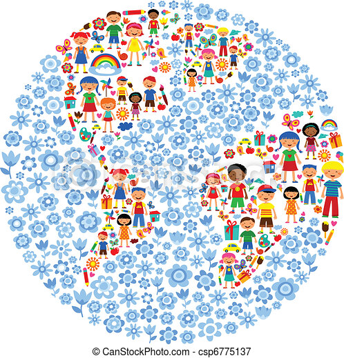 planet of kids, colorful vector illustration - csp6775137