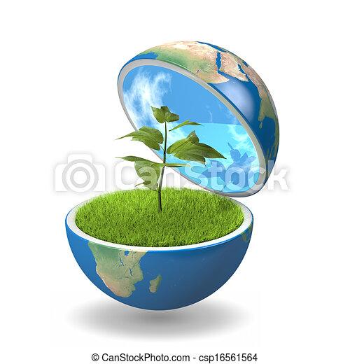 planet, pflanze, innenseite - csp16561564
