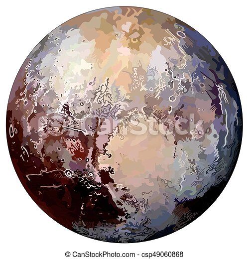 Planet pluto on isolated background located in solar ...